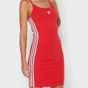 New Adidas Spaghetti Strap Dress 3 Stripe Red